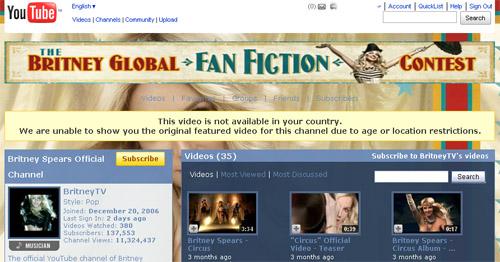 BritneyTV - YouTube - Region Restriction